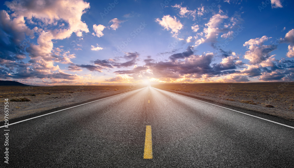Fototapeta beauty highway empty road with sunset or sunrise