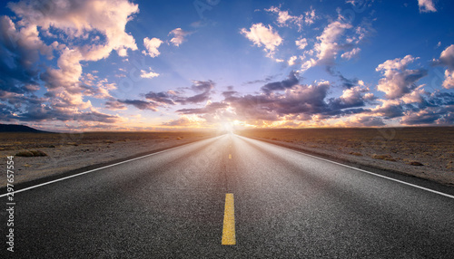Poster Gris beauty highway empty road with sunset or sunrise