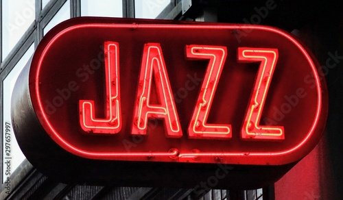 Neon Sign in Red of the Word Jazz