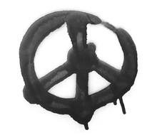 Spray Stain, Graffiti Peace Sign Isolated On White Background, Clipping Path