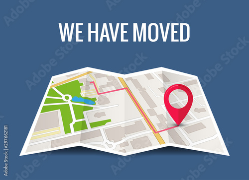 We have moved new office icon location. Address move change location announcement business home map - fototapety na wymiar