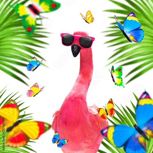 Tuinposter Crazy dog summer paradise vacation flamingo
