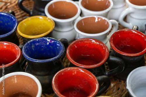 The fair of folk craftsmen of pottery. Handmade clay pots Tapéta, Fotótapéta