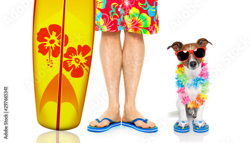 Tuinposter Crazy dog two on summer vacation, dog and owner surfer
