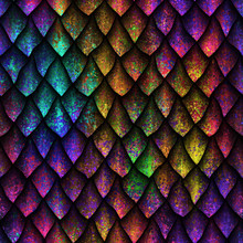 Seamless Texture Of Dragon Scales With Grunge Pattern, Reptile Skin, 3d Illustration
