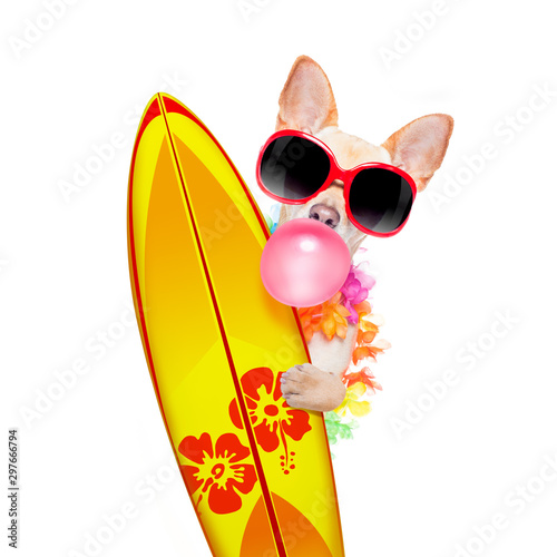 Tuinposter Crazy dog summer paradise vacation surfer dog
