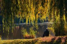 Autumn Landscape, A Fisherman ...