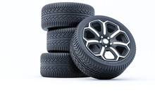 Car Wheels Isolated On A White...