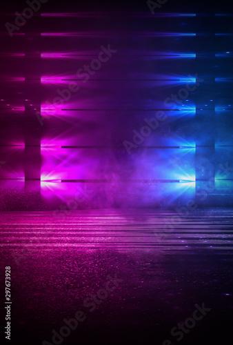 Dark empty scene, blue neon searchlight light, wet asphalt, smoke, night view, rays. Empty black studio room. Dark background. Abstract dark empty studio room texture. Product showcase spotlight back - 297673928