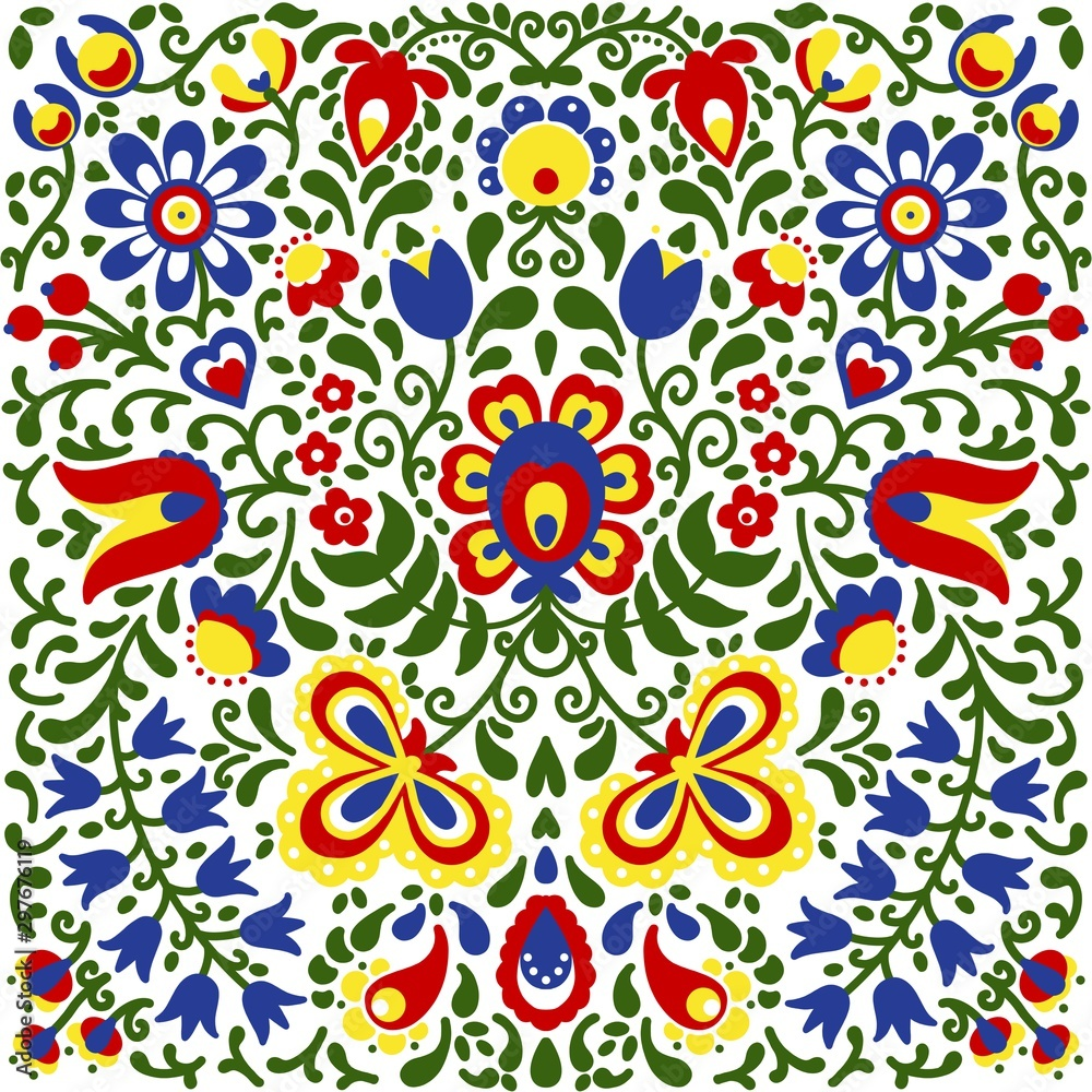 Moravian folk ornaments floral embroidery colorful