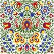 Leinwanddruck Bild - Moravian folk ornaments floral embroidery colorful