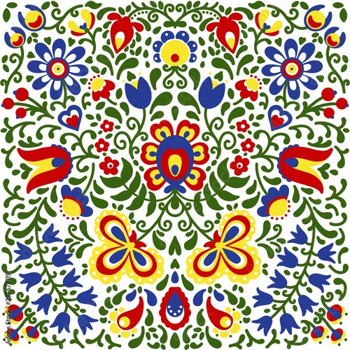 Moravian folk ornaments floral embroidery colorful Canvas-taulu