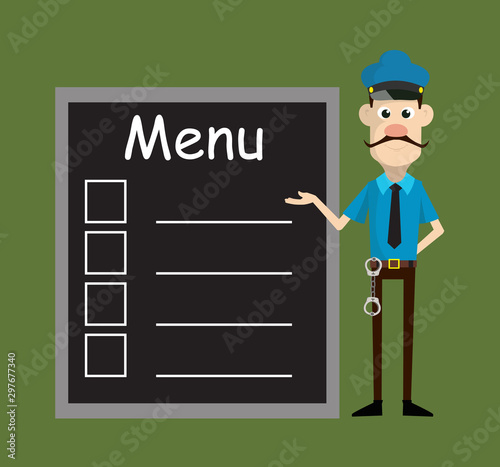 Cartoon Cop Policeman - Presenting Menu List Tableau sur Toile