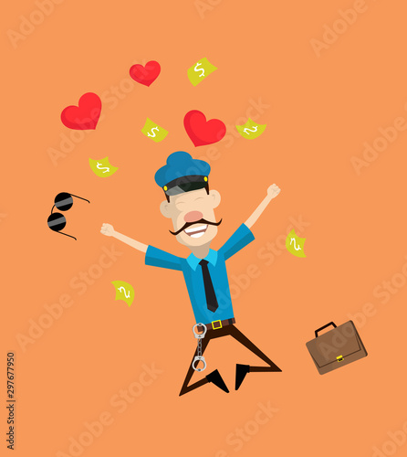 Cartoon Cop Policeman - Jumping with Hearts and Money Wallpaper Mural
