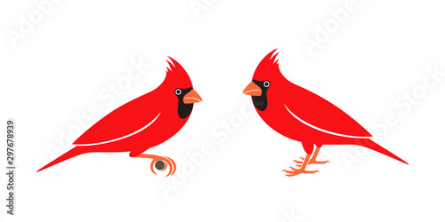 Cardinal bird logo. Isolated cardinal bird on white background Poster Mural XXL