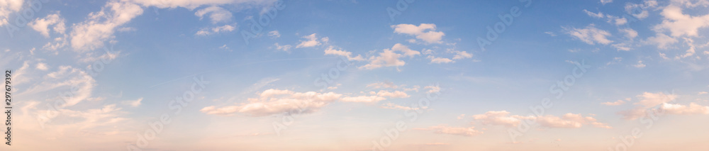 Fototapety, obrazy: Summer sky background with warm sunny tonings. Wide angle panorama, banner