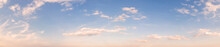 Summer Sky Background With Warm Sunny Tonings. Wide Angle Panorama, Banner