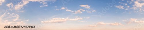 Foto op Aluminium Ochtendgloren Summer sky background with warm sunny tonings. Wide angle panorama, banner