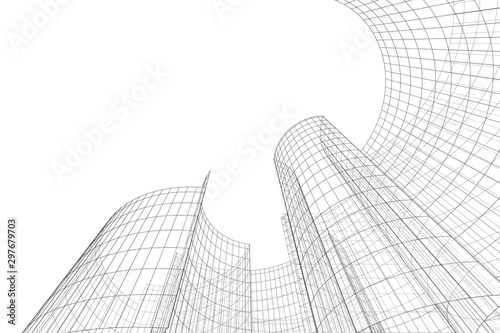 Obraz Architecture building 3d. Concept sketch. Futuristic backdrop - fototapety do salonu