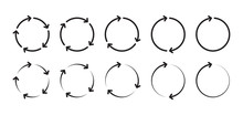 Arrows Rotating Around Circle. Rotating Arrow Signs. Ring Arrow Signs
