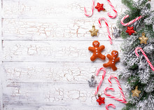Christmas Background With Felt Gingerbread Man