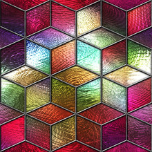 Stained Glass Seamless Texture With Cubes Pattern For Window, Colored Glass,  3d Illustration