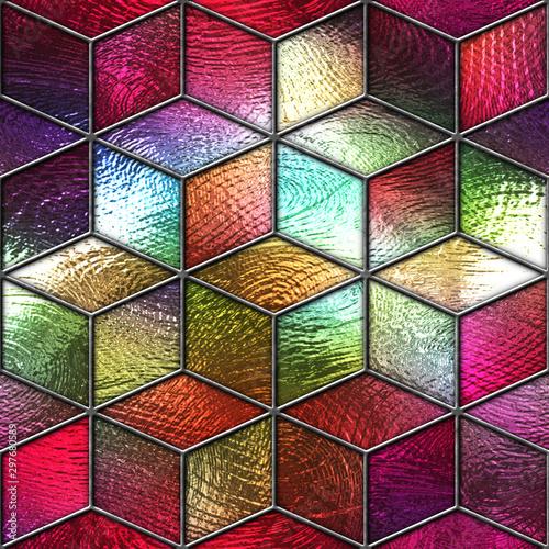 witraz-bezszwowa-tekstura-z-szescianu-wzorem-dla-okno-barwiony-szklo-3d-ilustracja