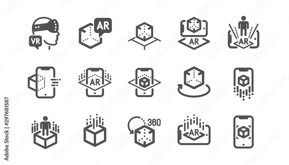 Fototapeta Augmented reality icons. VR simulation, Panorama view, 360 degrees. Virtual reality gaming, augmented, full rotation arrows icons. Classic set. Quality set. Vector