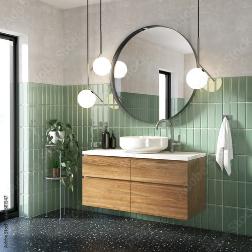 Green modern contemporary bathroom with black terrazzo floor
