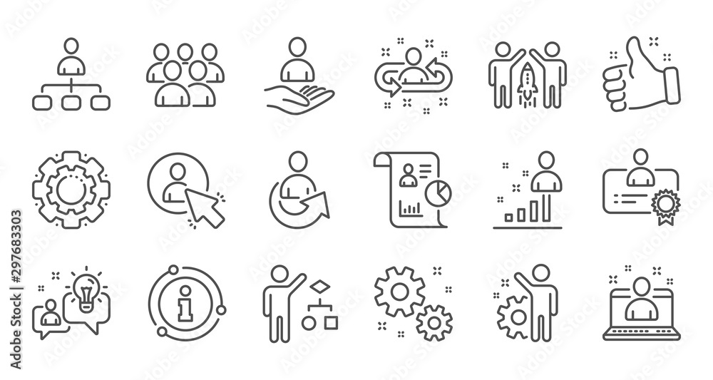 Fototapeta Management line icons. Business people, Algorithm and Group. Startup strategy linear icon set. Quality line set. Vector
