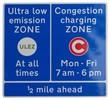 Leinwanddruck Bild - ULEZ (Ultra low emission zone) and C (Congestion charging zone)