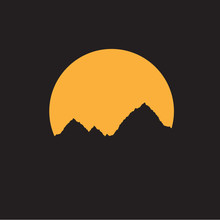 Mountain With Moon Isolated On Black Background Landscape Mountainscape Logo Icon Vector