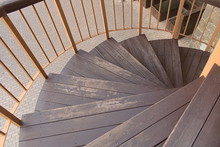 Background Wooden Stairs Spiral Staircase Outside The House