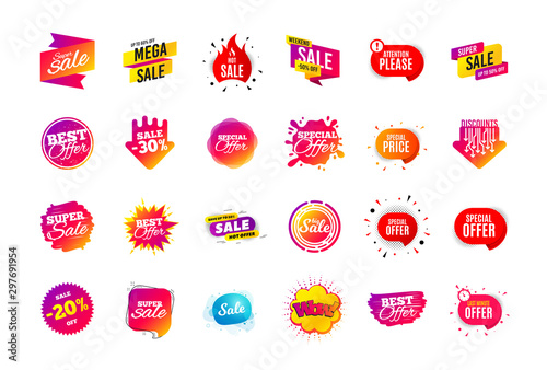 Fototapeta Sale banner badge. Special offer discount tags. Coupon shape templates design. Cyber monday sale discounts. Black friday shopping icons. Best ultimate offer badge. Super discount icons. Vector banners obraz