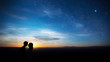 canvas print picture - Couple at Sunset