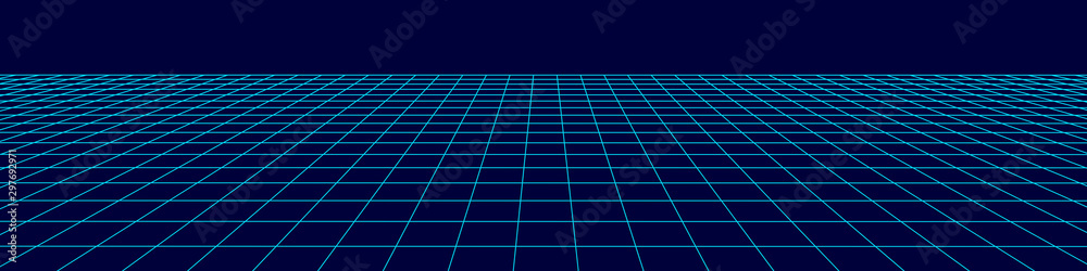 Fototapeta Perspective grid background. Abstract vector wireframe landscape. Abstract mesh background. Vector illustration.