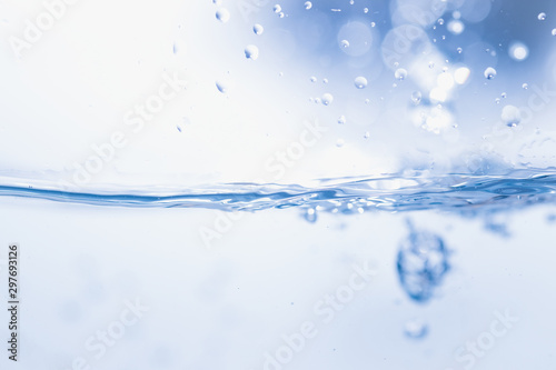 blue water splash and drop for drinking, abstract water pure and freshness concept background