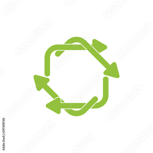 Fototapeta circle linked rotation arrow symbol logo vector obraz na płótnie