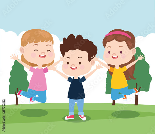 cartoon little kids in the park, colorful design