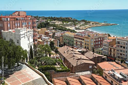 View of ancient town of Tarragona and Mediterranean Sea from the observation deck of Torre del Pretori Tower. Tarragona, Catalonia, Spain.