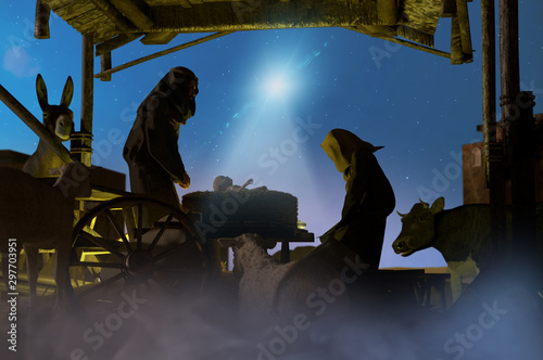 Photo  Christmas nativity scene of baby Jesus in the manger with Joseph, Mary    3D ren