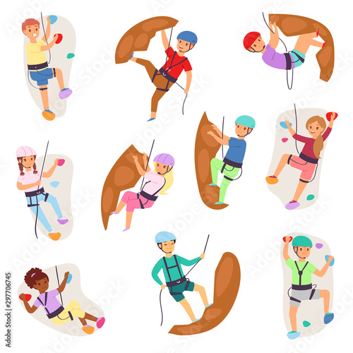 Fotografia, Obraz Kids climbing vector climber children girl boy character climbs rock mountain wa