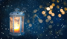 Winter Christmas Background With Lighted Lantern
