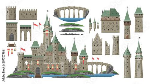 Kreskówka zamek wektor bajkowa średniowieczna wieża pałacu fantasy budynek w królestwie bajki ilustracja zestaw historycznego bajkowego domu bastion Konstruktor na białym tle