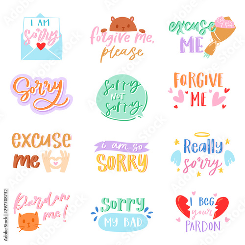 Sorry text vector excuse lettering design forgiveness message apologize typograp Wallpaper Mural