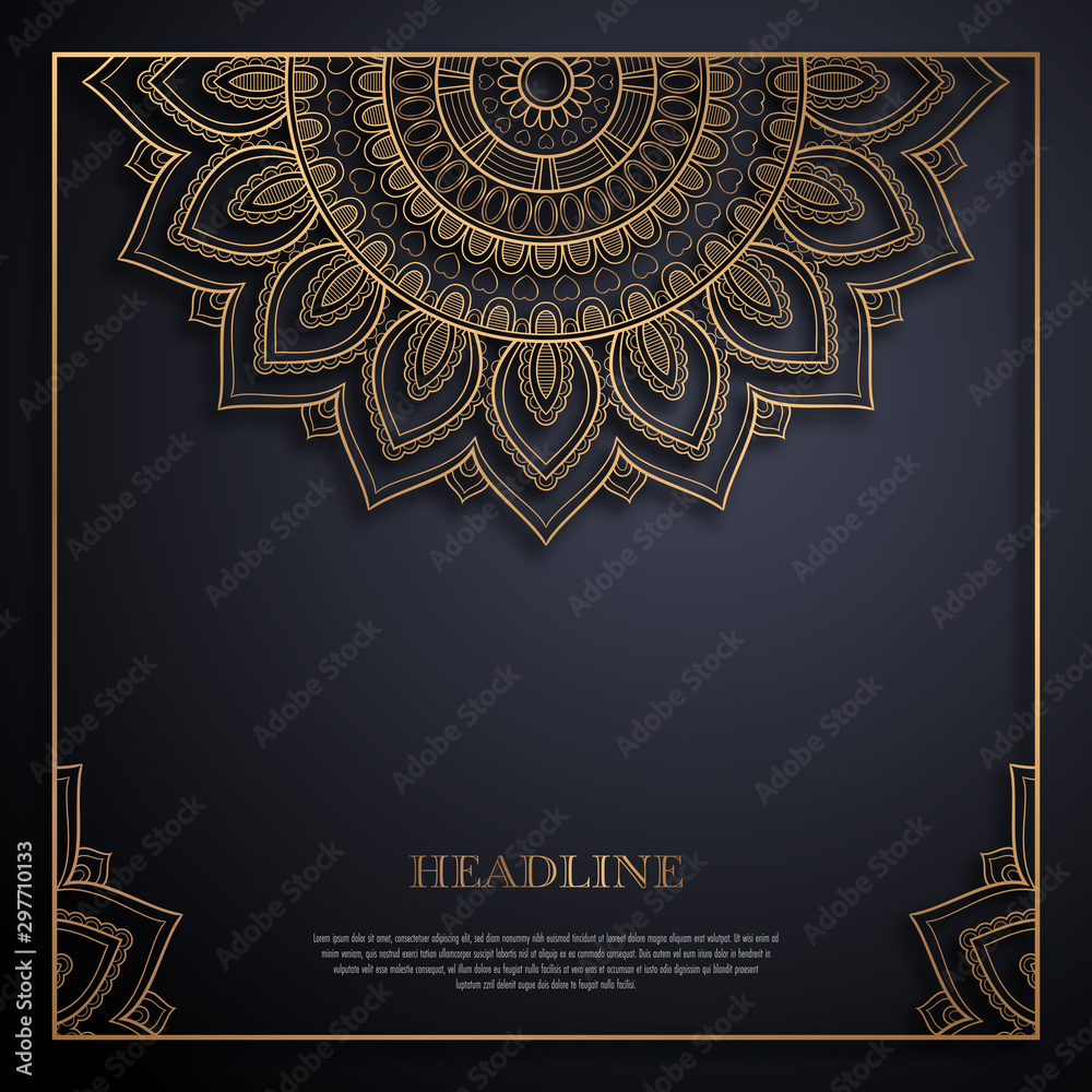 Fototapety, obrazy: Gold and black greeting card template in retro style. Great design for any purposes: invitation, flyer, menu, brochure or leaflet
