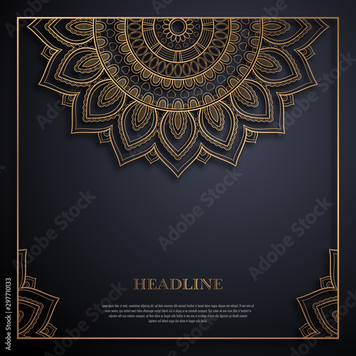 Leinwand Poster  Gold and black greeting card template in retro style