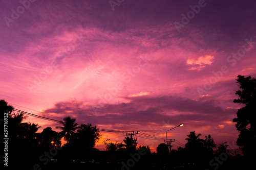Fotobehang Candy roze Pink sunset in the sky