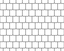 Abstract Seamless Pattern, Black And White Tile Roof. Paving Stone Texture. Design Geometric Texture For Print. Linear Style, Vector Illustration