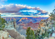 Scenic View To Grand Canyon In Sunset